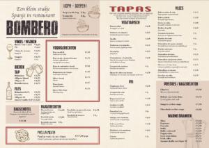 vernieuwde BOMBERO menukaart
